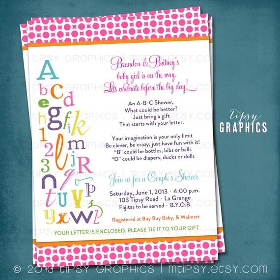 Alphabet Bridal Shower Invitation ABC Invite Coed Wedding