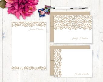 complete personalized stationery set - LACY EDGE - personalized womens stationary set - note cards - notepad - feminine stationery