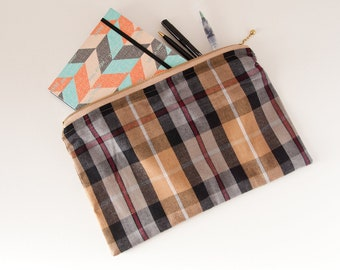 Planner Pouch in Brown Fabric - Travel Journal Case - Travel Gift Ideas