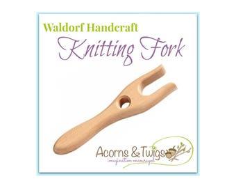 Knitting Fork, Children's Knitting Tool, Waldorf Handwork Supply, Wooden Lucet, Lucet Cord Making Tool,