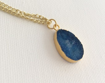 Navy Blue Druzzy Oval Geode Gold Necklace