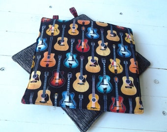 Guitar Fabric Potholders With Gray on Reverse Side
