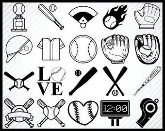 20 Baseball SVG Bundles, Vectors, Cut Files, Cutable, Prints, Cricut Ready, Digital Design, Silhouettes, Clip Arts, Instant Download