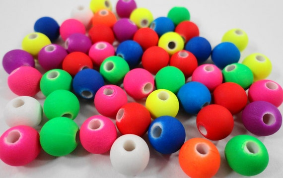 Round Acrylic Beads 6mm Multicolor Acrylic Beads, Matte Beads, Neon Beads, Rubberized Beads, Plastic Ball Beads for Jewelry, 50 Loose Beads