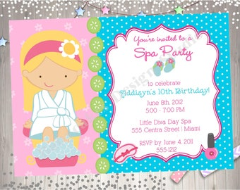 Spa Party Invitation Spa invitation invite spa birthday party spa birthday invitation invite CHOOSE YOUR GIRL