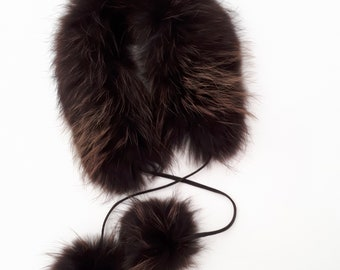 Brown  fur  Collar.  Raccoon fur COLLAR with pompoms. Baby collar with pompoms.