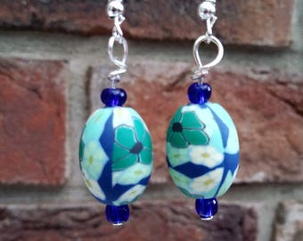 Statement bead dangle earrings blue millefiori