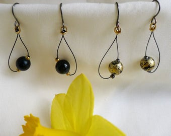 Black lacquered or gold spreckled matte looped bead earrings* large bead dangle earrings* black ball looped* spreckled gold drop earring