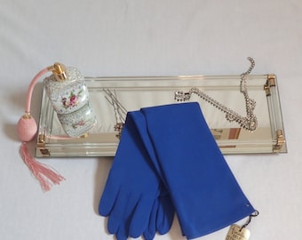 "NWT Mod Vintage 1960's Cerulean Blue Gloves-Mint Elbow Length ""FINALE"" Nylon Gloves-One Size Fits All"
