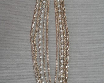 Gold Chain and Pearl Bead Necklace