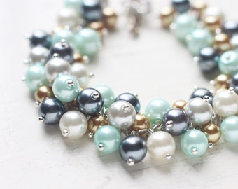 Winter Wedding Bridesmaid Jewelry, Pearl Cluster Bracelet in Pastel Mint Green, Gold, Dark Grey and Ivory