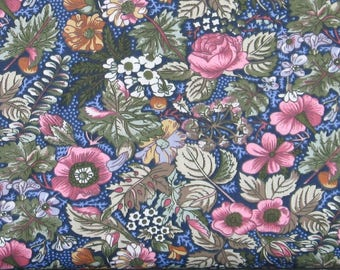 Pink, Blue, Green, Gold and White Floral on Navy Blue 100% Cotton Calico Fabric for Sale from Marshall Dry Goods, MDGCountry-010Navy