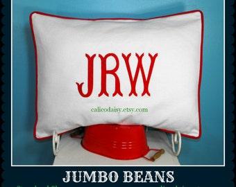 King Sham - JUMBO Beans Font Monogrammed Pillow Sham - King Size