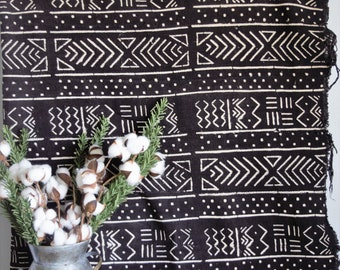 Authentic African Mud Cloth, Textile,  African Mudcloth Throw,  Wall Hanging, Bogolan Fabric, Mudcloth Bedding, Blanket, Farmhouse Decor