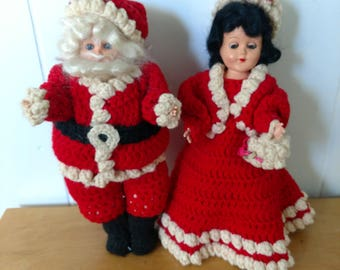 vintage Santa and Mrs Claus crochet outfits