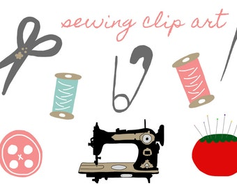 Sewing Clip Art - Instant Download  - personal or commercial use - hand drawn sewing machine - button - needle