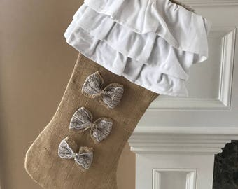 Ruffle Stocking | Christmas Burlap Stocking | Christmas Stocking | Ruffle Burlap Stocking | Cotton Stocking | Burlap Stocking | Burlap Home