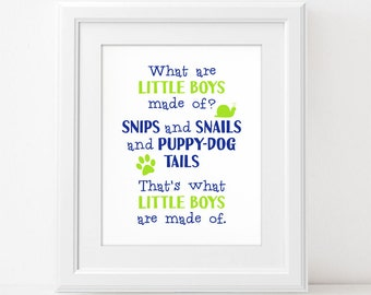 What Are Little Boys Made Of - Digital Wall Art Print PRINTABLE Nursery Rhyme Bedroom Decor Blue Green Snails Puppy Dog Tails Baby Shower