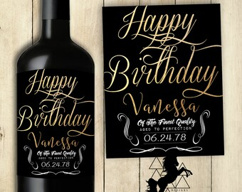 Happy Birthday Wine Label / Personalized / Customized / PRINTABLE / Happy Birthday Sticker / Gold