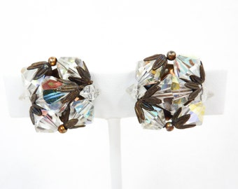 Crystal Retro Earrings | Clear Aurora Borealis and Brass | 1950s Jewelry | Statement Clip Ons | Glam Vintage Clips