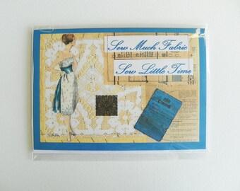 Vintage Sewing Greetings Card - Vintage Re-work, Retro Card, Dressmaking, Sewing, Mixed Media, Sewing Lover, Birthday Card, Blank Card, Gift