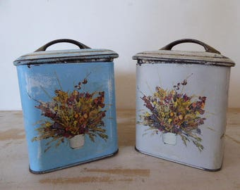 Pair Lidded Storage Canisters, Vintage French Storage Tins, Kitchenalia, Floral Decoration 0417019-122