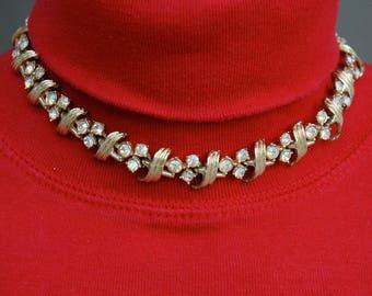 AB Rhinestone Choker Necklace Vintage