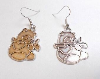 Dangling earrings, panda, antique silver charm