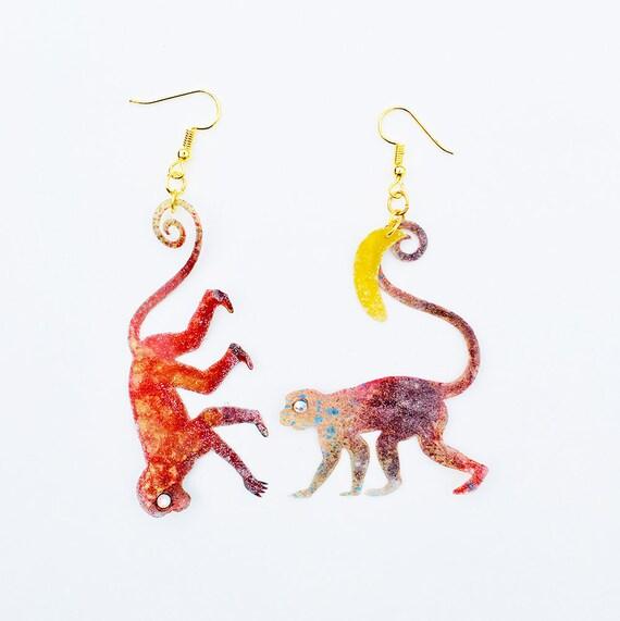Banana - Old World Monkeys earrings - Monkeys jewel - Jewelry monkey - Gifts for her - Ape earrings - Simians earrings - Monkey jewelry