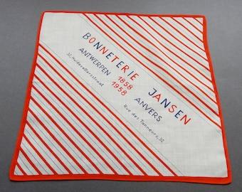 Bonneterie Jansen Anvers - Vintage 1858 - 1958 Anniversary Cotton Hankie Handkerchief for Jansen Hosiery Shop in Belgium