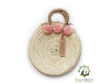 Dainty panier rond petit pompon vieux rose: panier Français, marocain panier, sac en paille, français panier, sac de plage, sac en paille