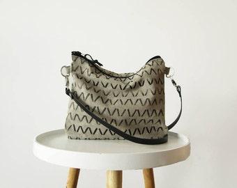 Canvas purse, Crossbody bag, Geometric print, Gray, Shoulder bag, Slouchy crossbody purse,