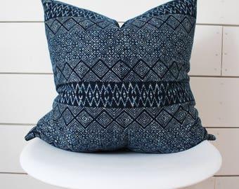 """22"""" x 22"""" Indigo Batik Pillow Cover"""