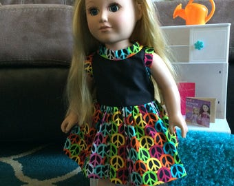 Peace sign doll dress