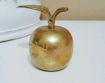 Vintage Brass Apple, Vintage Brass Apple, Vintage Brass Vintage Apple, Vintage Brass, Brass Home Decor, Teacher Decor Georgia 1993 Ornament
