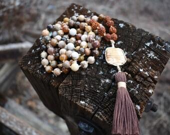 Petrified Wood Mala Bead Necklace