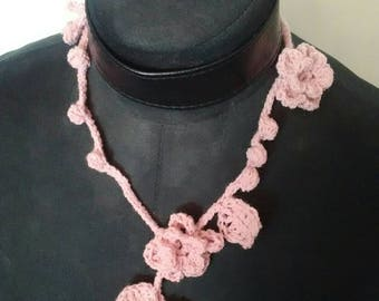 Flowers, leaves and Bobbles crochet necklace