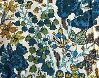 LIBERTY Of LONDON Tana Lawn Cotton Fabric  'Edna' Mustard/Blue Floral Lg Fat Quarter 18 X 26 in