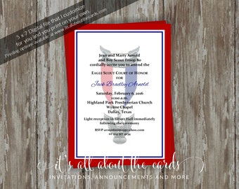 Eagle Scout Court of Honor Invitations - Simple honors with border design-Digital file