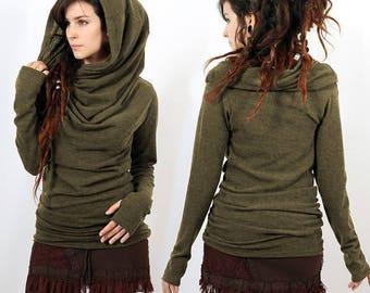 Mid Season PULLOVER Bohemian, Elf, Fairy, Boho, Gypsy, Hippy for Women, Alternative Clothing, passage of thumbs, plunging neckline, hood