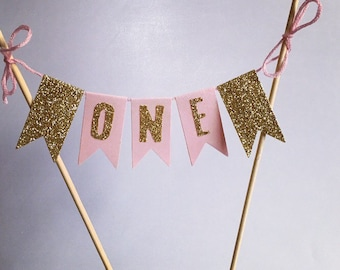 Pink And First Birthday Cake Bunting Topper 1st Birthday Baby Girl Birthday Girl 1st Decor Gold Glitter Pink And Gold Birthday
