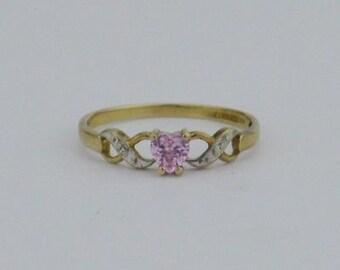 10k Yellow & White Gold Estate Pink Heart Ring Size 7
