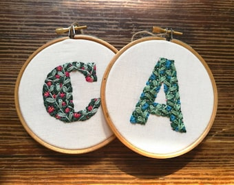 Hand Embroidered Personalised Flower Initial Hoop - 4 inch hoop - A and C available now