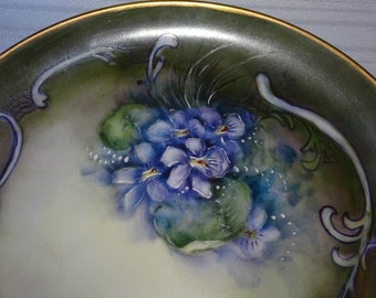 Vintage Hand Painted Violet Flowers Plate, Trivet, Trinket Plate, Jewelry Plate, Wall Decor, Purple Flowers, Dainty Sweet Spring time Flower