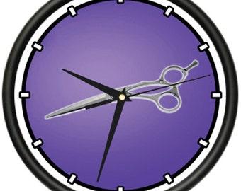 Scissors Wall Clock Hair Salon Cutter Pole Gift
