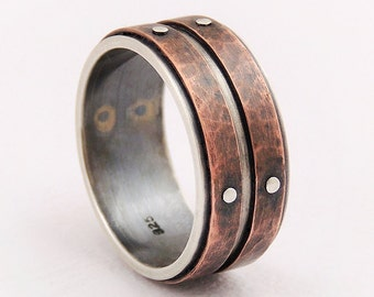 Mens wedding band ring - silver copper ring,mens engagement ring,mens rustic ring,unique ring
