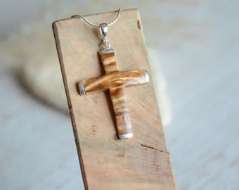 Wooden cross pendant, natural wood crucifix necklace, sterling silver and wood pendant, holly first communion gift made of wood