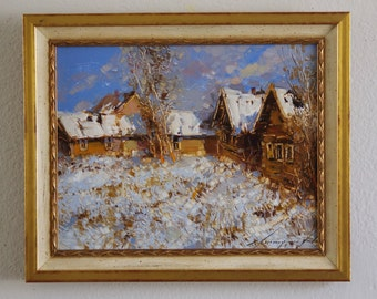 Landscape, Winter, Oil Painting, Framed Ready to Hang Signed Handmade painting  One of a Kind