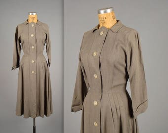 1940s slate grey shirt-waist dress • vintage 40s day dress • winter weight button front dress