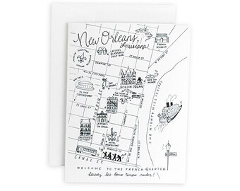 New Orleans Pen and Ink Map Notecard Set